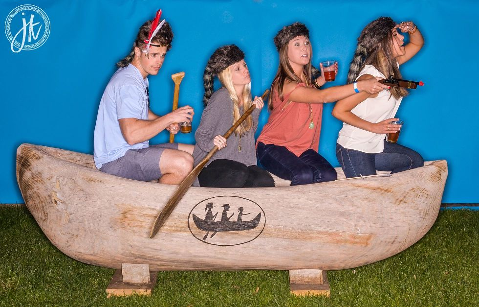 Logboat Brewing Columbia MO Party Photo Booth using dugout canoe