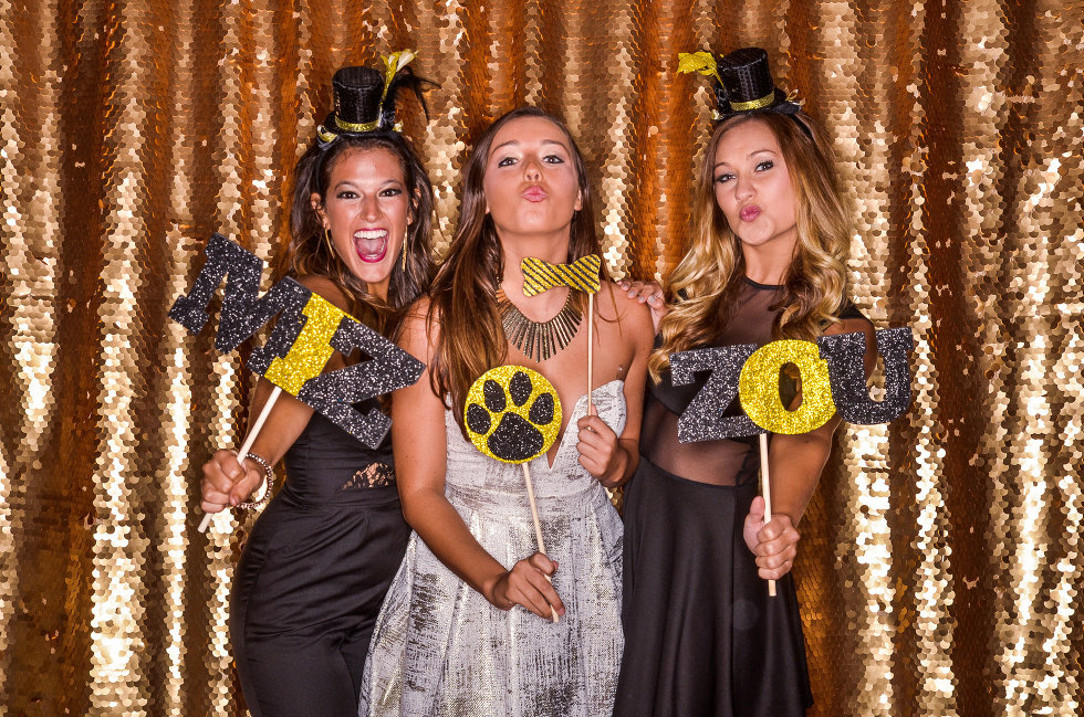 Mizzou Golden Girls anniversary party with gold sequin photo booth backdrop at Country Club of Missouri